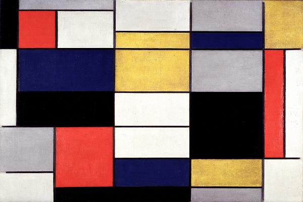 Mondrian Grande composizione A con nero, rosso, grigio, giallo e blu.pngSITO